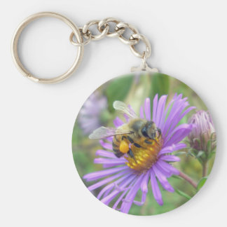 Honeybee on Fall Asters Wildflower Series Basic Round Button Keychain