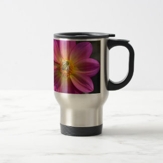 Honeybee on pink dahlia travel mug