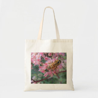 Honeybee on Pink Sedum Tote Bag