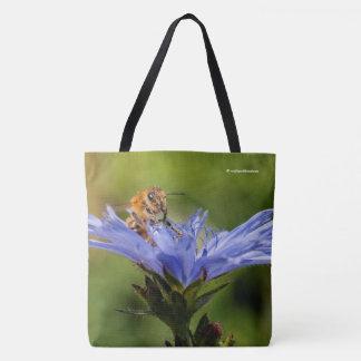 Honeybee on the Flowering Radicchio Tote Bag