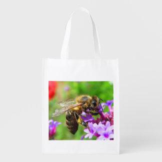 Honeybee on Verbena Reusable Grocery Bag