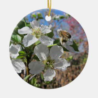Honeybee with Pear Blossoms Ceramic Ornament