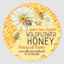 Honeybees Apiary Wildflower Honey Jar Lid Labels