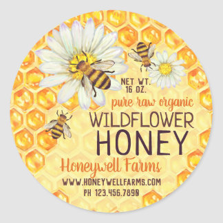 Honeybees Apiary Wildflower Honey Jar Lid Labels