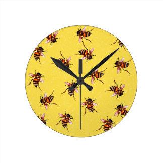 Honeybees Round Clock