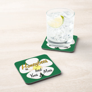 Honeybees feed Yous & Mees (White) - Coasters