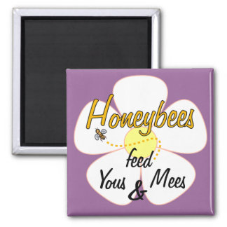Honeybees feed Yous & Mees (White) - Magnet