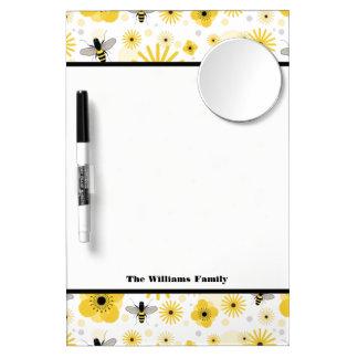 Honeybees & Flowers Dry Erase Board With Mirror