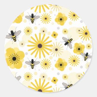 Honeybees & Flowers Envelope Seal Sticker