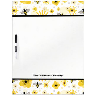 Honeybees & Flowers Large Dry Erase Board
