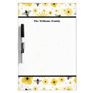 Honeybees & Flowers Medium Dry Erase Board