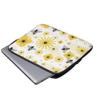 Honeybees Flowers & Polka Dots Electronics Bag Laptop Sleeve