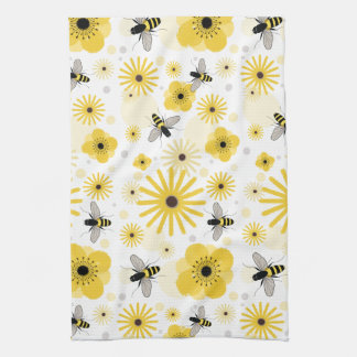 Honeybees Flowers Amp Polka Dots Kitchen Towel