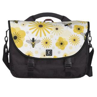 Honeybees Flowers Polka Dots Laptop Bag