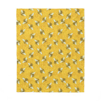 Honeybees Honeycomb Beehive Bee Nature Pattern Fleece Blanket