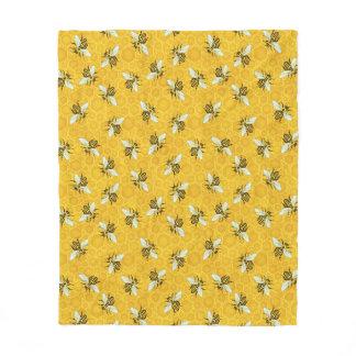 Honeybees Honeycomb Beehive Bee Nature Pattern Fleece Blanket