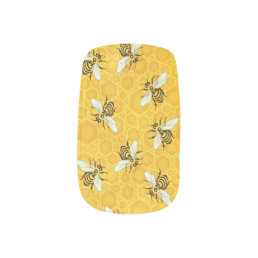 Honeybees Honeycomb Bumble Bee Hive Pattern Minx Nail Wraps