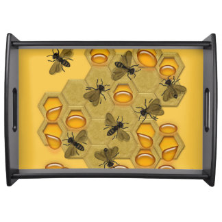 Honeybees & Honeycomb on Yellow Serving Tray