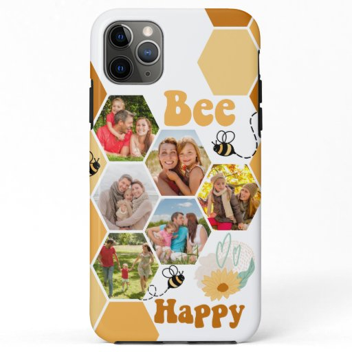 Honeycomb 6 Photo Collage Bee Happy iPhone 11 Pro Max Case