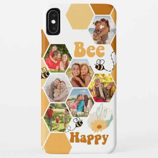 Honeycomb 7 Photo Collage Bee Happy iPhone XS Max Case