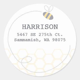 Honeycomb Address Label Round Sticker