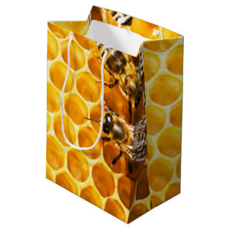 Honeycomb and Bees Pattern Design Medium Gift Bag