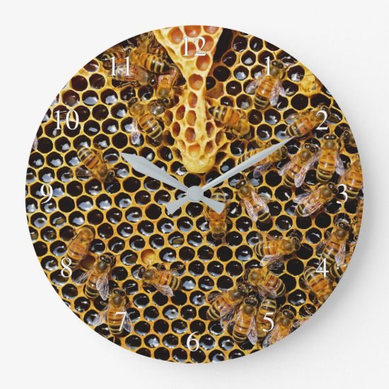Honeycomb and Bees Small Numbers Large Clock