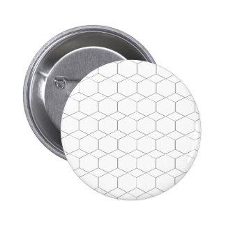Honeycomb and diamond shape, Black and White Pinback Button