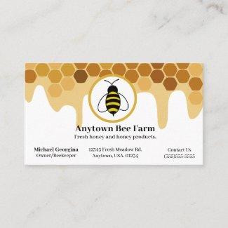 Honeycomb and Honey Bee Beekeeper Farmer Business Card