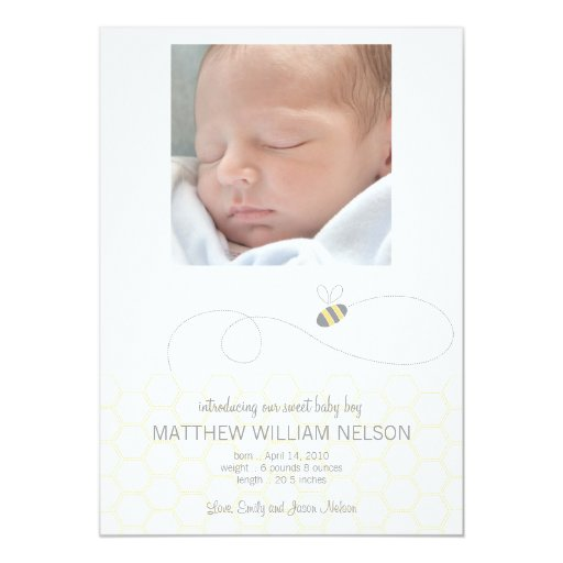 """Honeycomb Baby Announcement 5"""" X 7"""" Invitation Card"""