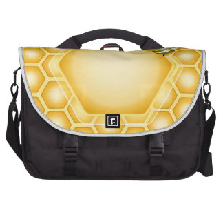 Honeycomb background with a cute honeybee commuter bag