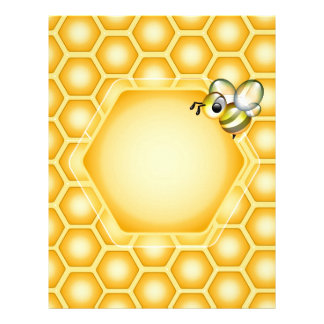 Honeycomb background with a cute honeybee letterhead