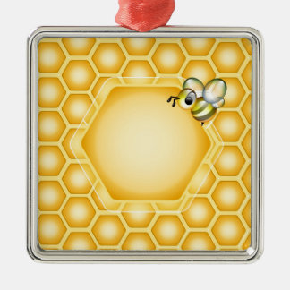 Honeycomb background with a cute honeybee metal ornament