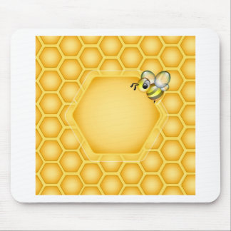 Honeycomb background with a cute honeybee mouse pad