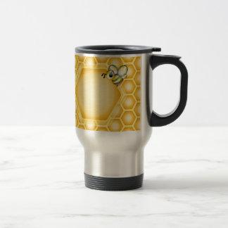 Honeycomb background with a cute honeybee travel mug