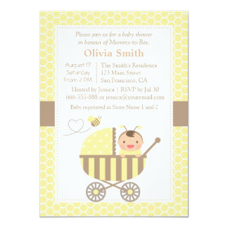 Honeycomb Cute Bumble Bee Baby Shower Invitations