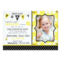 Honeycomb Dots and Bumble Bee Birthday Invite