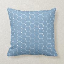 Honeycomb Hexagon Pattern Denim Blue Throw Pillow