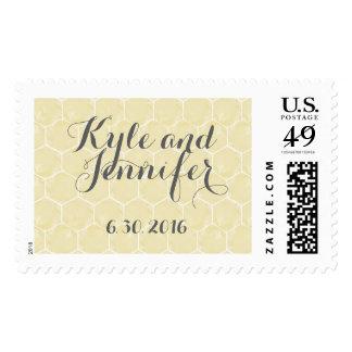 Honeycomb Hexagon Yellow Gray Wedding Stamp