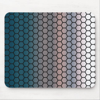 Honeycomb on Watercolor Sky Pink and Blue Ombre Mouse Pad