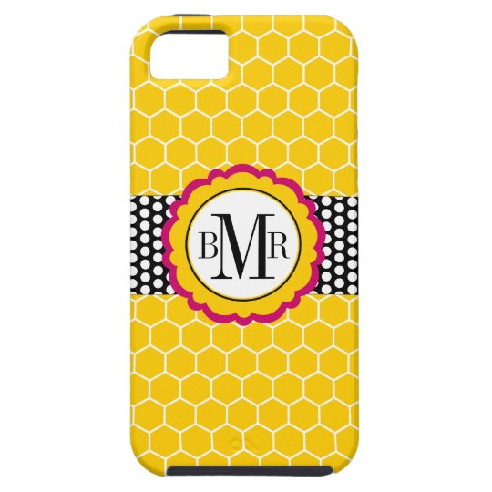 Honeycomb Pattern and Flower Monogram Personalized iPhone SE/5/5s Case