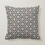 Honeycomb Pattern Tan Black White Throw Pillow