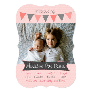 Honeycomb Pink Baby Girl Photo Birth Announcement