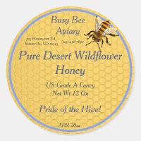 Honeycomb Round with Single Honeybee Honey Label