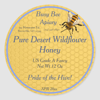 Honeycomb Round with Single Honeybee Honey Label Classic Round Sticker