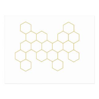 Honeycomb simplified pattern design postcard