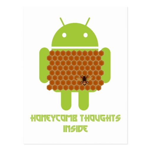 Honeycomb Thoughts Inside (Android Bug Droid Bee) Postcard