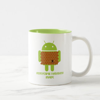 Honeycomb Thoughts Inside (Android Bug Droid Bee) Two-Tone Coffee Mug