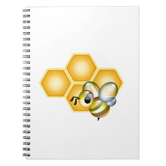 Honeycomb with a cute honeybee notebook