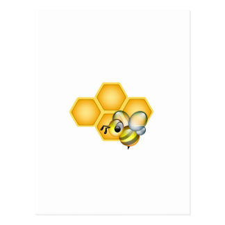Honeycomb with a cute honeybee postcard